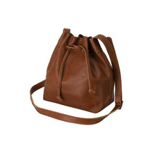 Load image into Gallery viewer, handmade Leather Bucket Bag honey - front view
