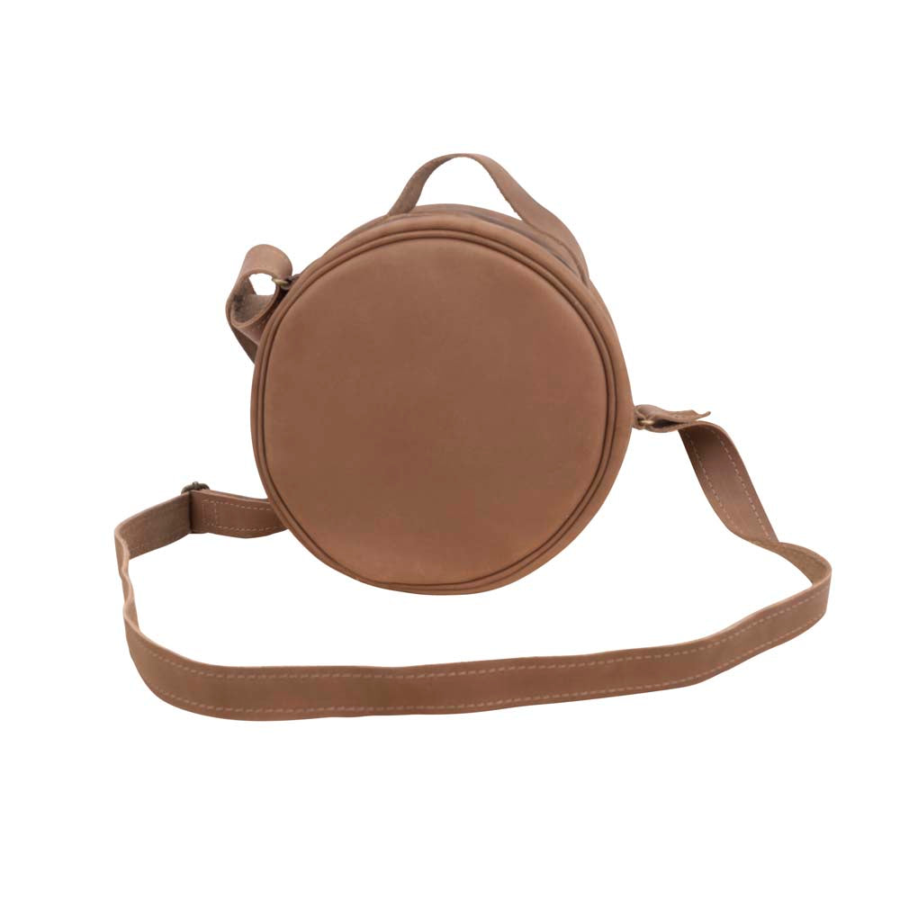 Round Leather Bag in brown - front View