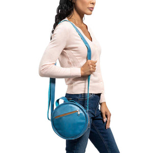 Round Leather Bag in blue - model View