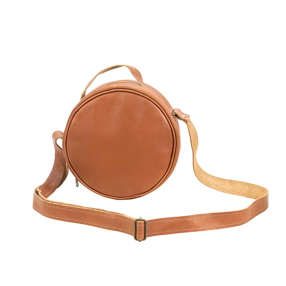 Round Leather Bag in Honey color - front View