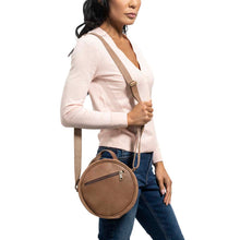 Load image into Gallery viewer, Round Leather Bag in brown - model View