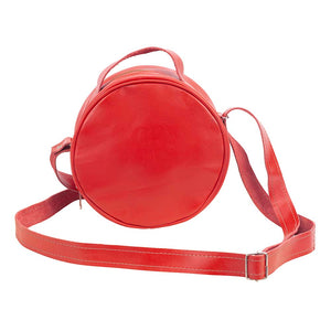 Round Leather Bag in red - front View