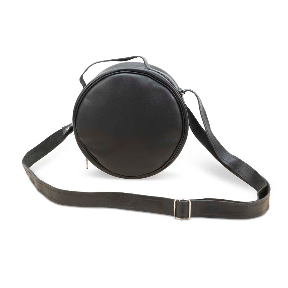 Round Leather Bag in black - front View