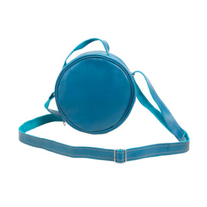 Round Leather Bag in blue - front View