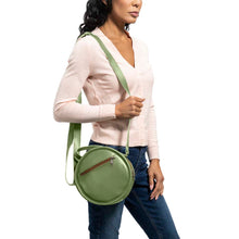 Load image into Gallery viewer, Round Leather Bag in green - model View