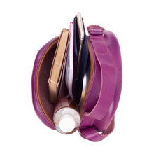 Load image into Gallery viewer, Round Leather Bag in Violet - inside View