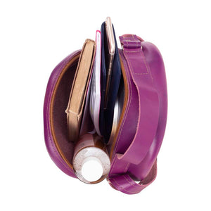 Round Leather Bag in Violet - inside View