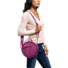 Load image into Gallery viewer, Round Leather Bag in Violet - Model View