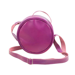 Round Leather Bag in Violet - front View