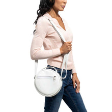 Load image into Gallery viewer, Round Leather Bag in white - model View