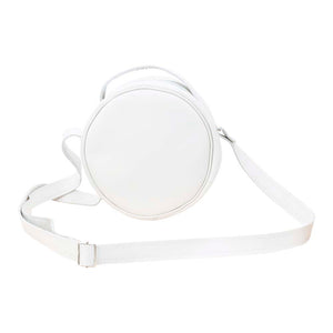 Round Leather Bag in white - front View