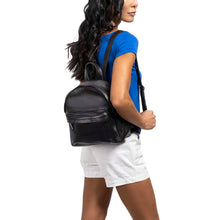 Load image into Gallery viewer, Mini Leather Backpack in black - model view