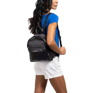Mini Leather Backpack in black - model view