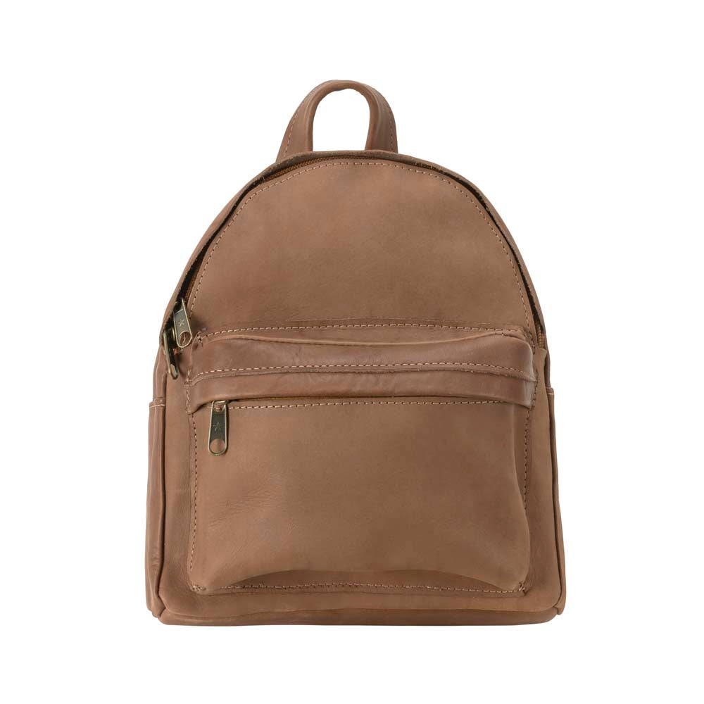 Mini Leather Backpack in brown - front view