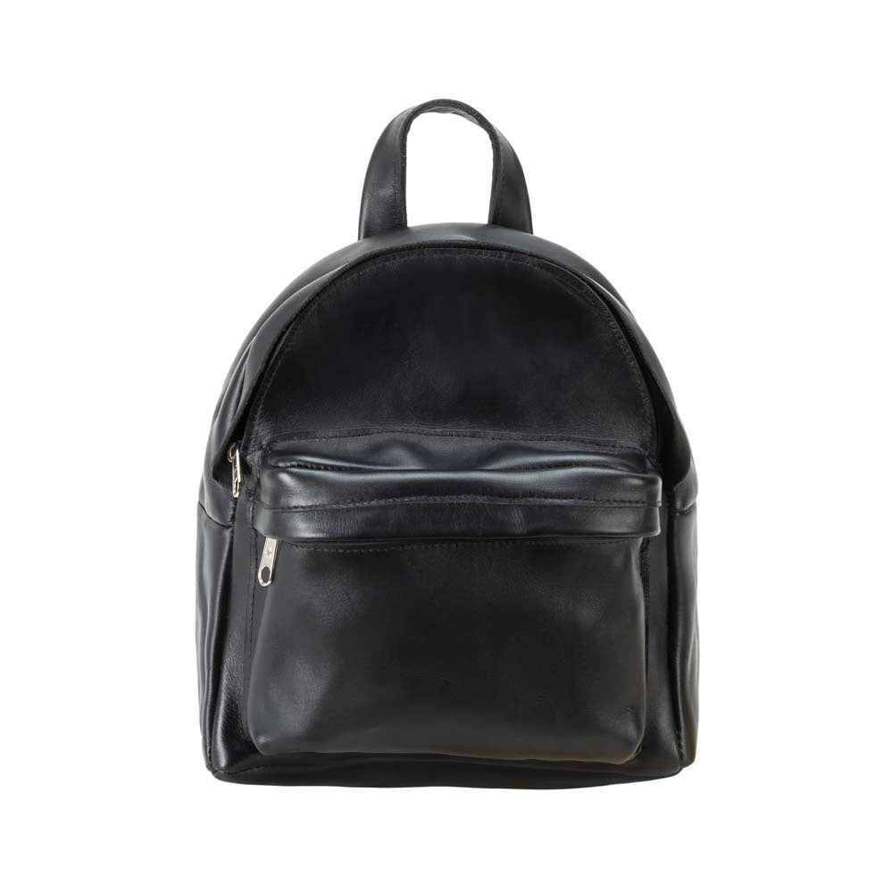 Mini Leather Backpack in black - front view