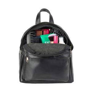 Mini Leather Backpack in black - inside view