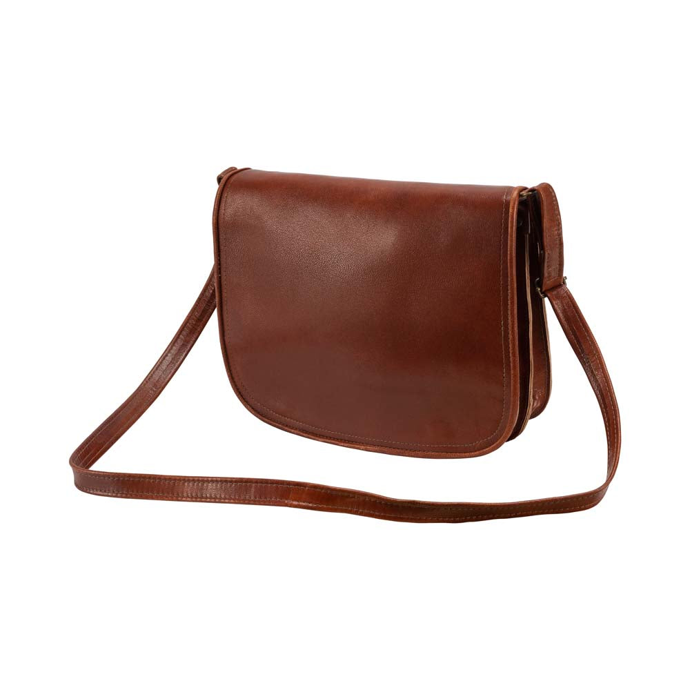 Med Cross Body Bag brown, handmade leather bag - Front View