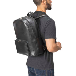 Leather Laptop Backpack in Black - model view