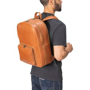 Leather Laptop Backpack in brown - model view