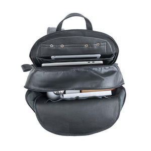 Leather Laptop Backpack in Black - cell two view