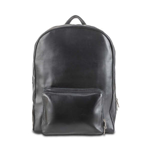Leather Laptop Backpack in Black - front view