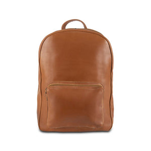 Leather Laptop Backpack in brown - front view
