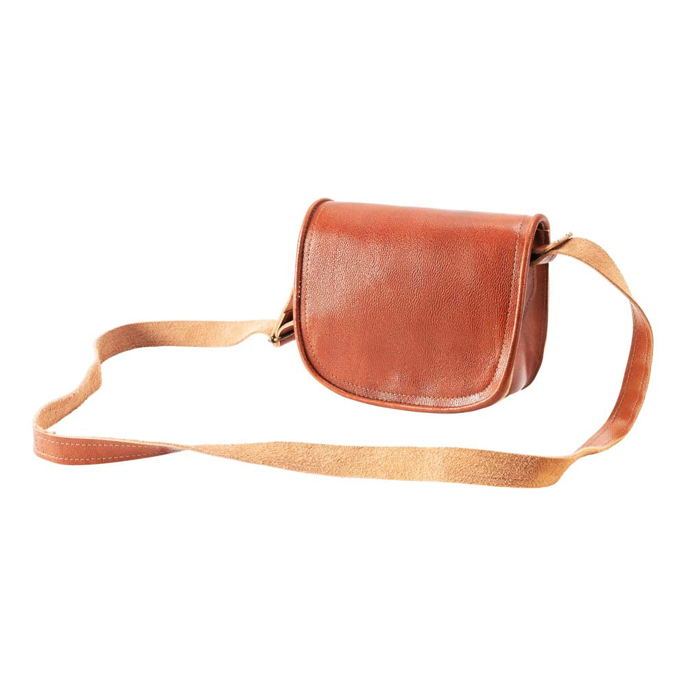 Small Cross Body Bag brown, handmade leather bag - Front View