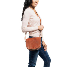 Load image into Gallery viewer, Small Cross Body Bag brown, handmade leather bag - model View