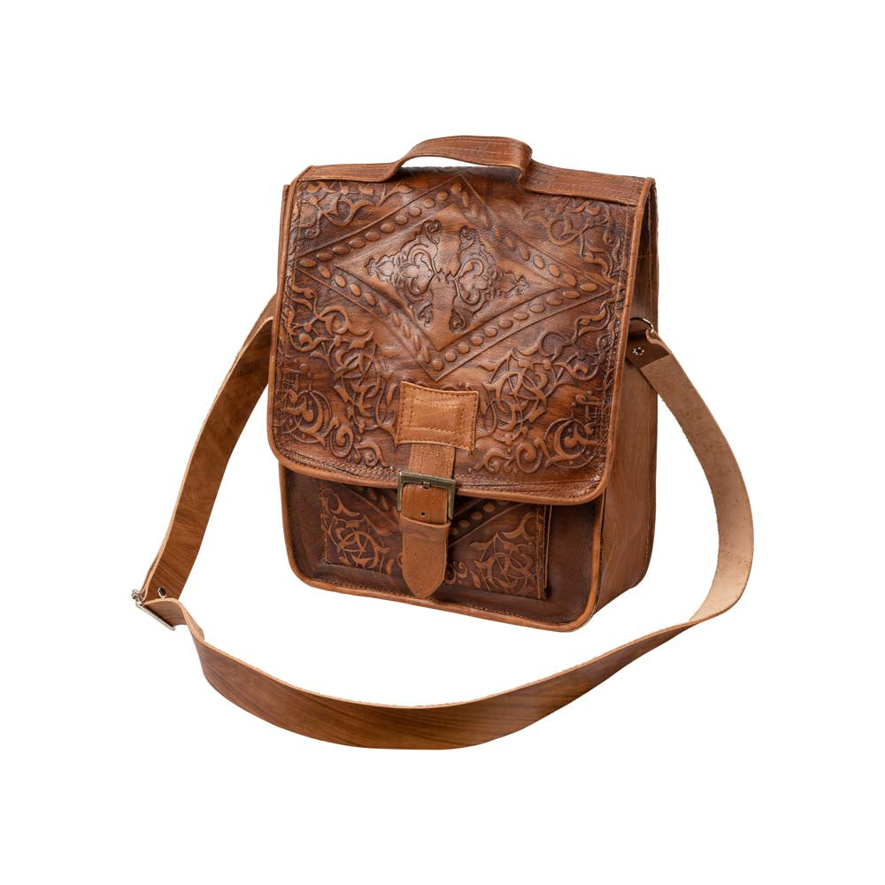 Embossed Reporter Bag brown, handmade leather bag - Front View