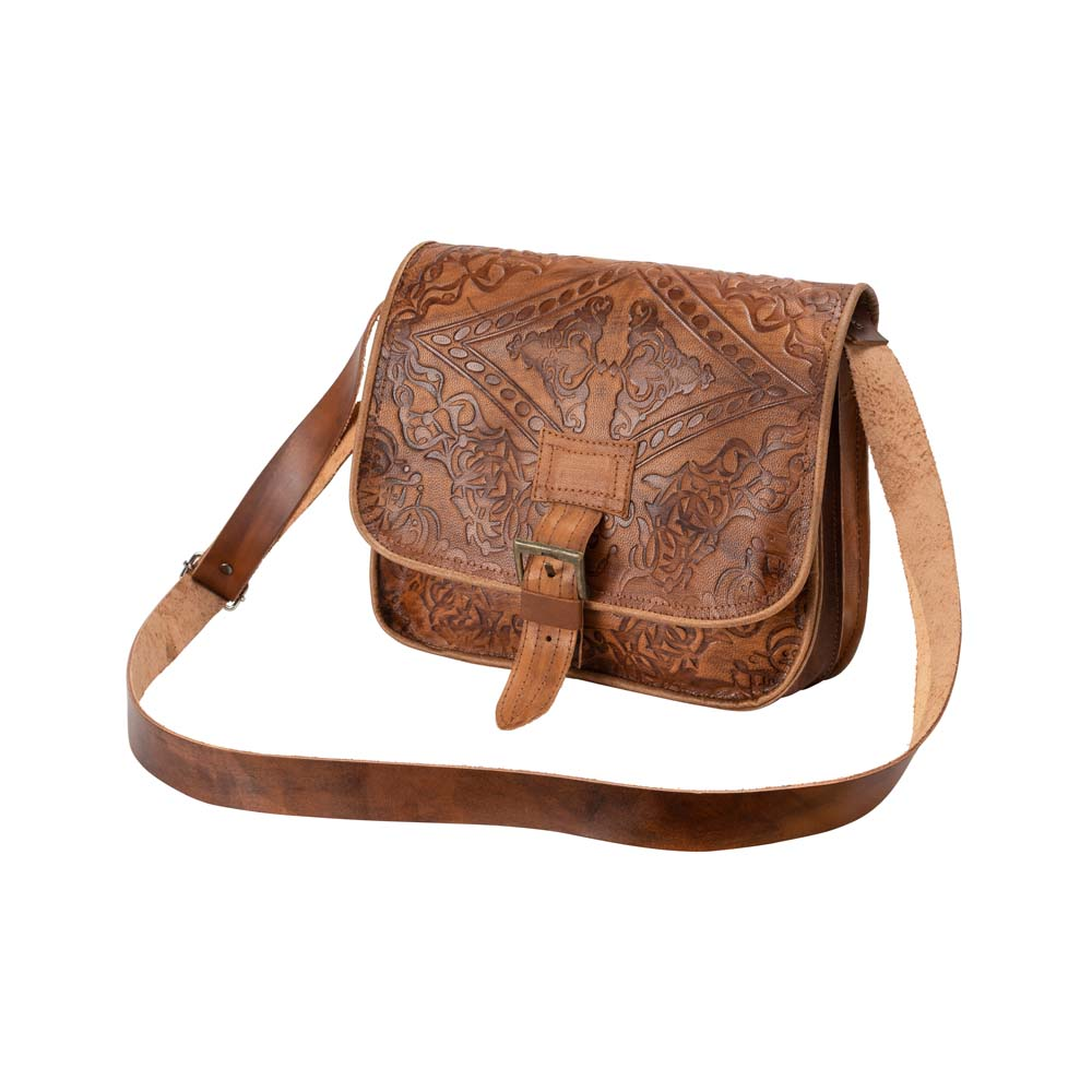 Embossed Messenger Bag brown, handmade leather bag - Front View