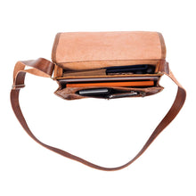 Load image into Gallery viewer, Embossed Messenger Bag brown, handmade leather bag - inside View