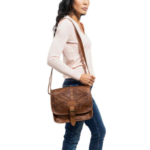 Embossed Messenger Bag brown, handmade leather bag - Model View