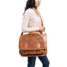 Load image into Gallery viewer, brown laptop handmade leather bag - Model View