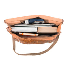 Load image into Gallery viewer, brown laptop handmade leather bag - Inside View