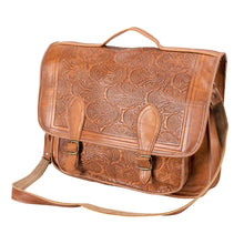 Load image into Gallery viewer, brown laptop handmade leather bag - Front View