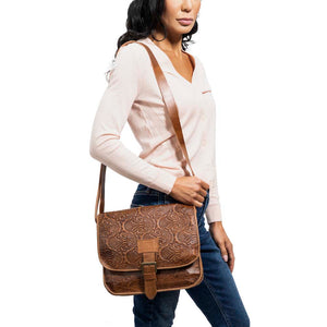 Embossed Leather Messenger Bag | Brown