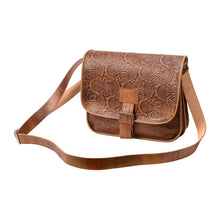 Load image into Gallery viewer, Embossed Messenger Bag brown, handmade leather bag - Front View