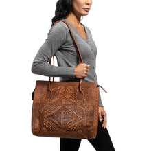Load image into Gallery viewer, Embossed Leather Tote Handbag brown, handmade leather bag - Model View