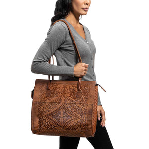 Embossed Leather Tote Handbag brown, handmade leather bag - Model View