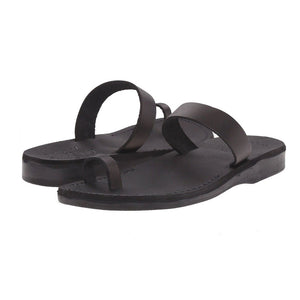 Eden black, handmade leather slide sandals with toe loop - pair View