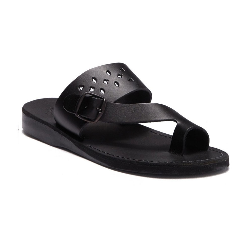 Ezra Black, handmade leather slide sandals with toe loop - Front View