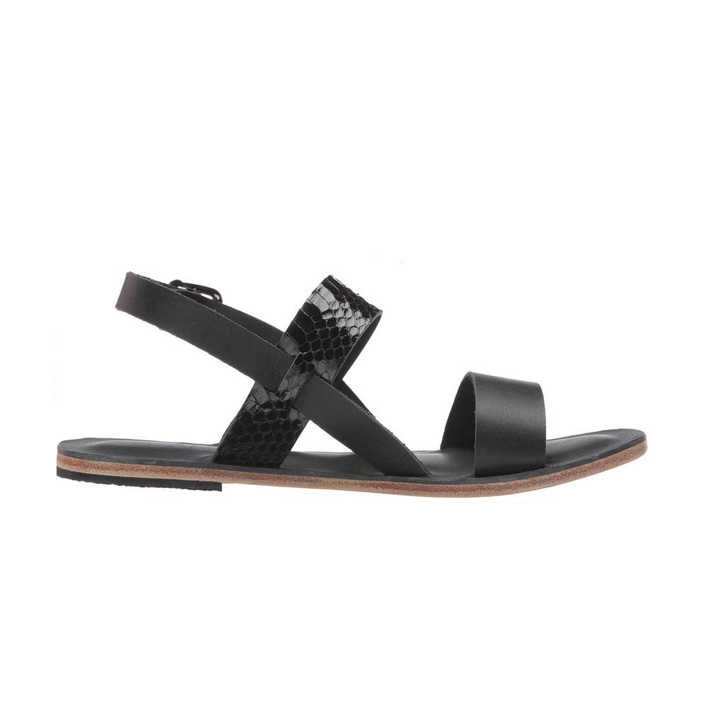 Abbot Kinney Blvd - Leather Snake Skin Sandal | Black