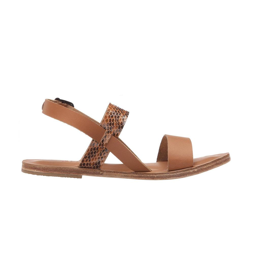 Abbot Kinney Blvd - Leather Snake Skin Sandal | Tan