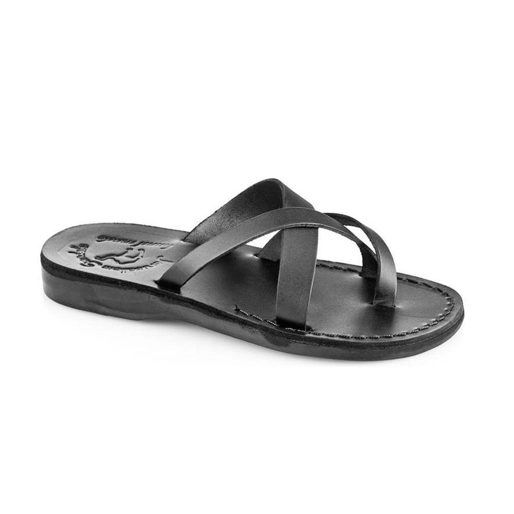 Abigail black, handmade leather slide sandals with toe loop - Front View