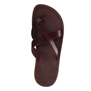 Abigail brown, handmade leather slide sandals with toe loop - Side View