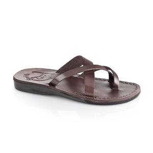 Abigail brown, handmade leather slide sandals with toe loop - Front View