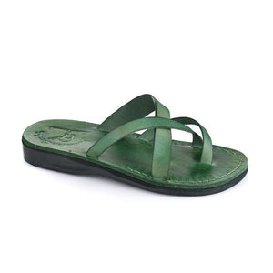 Abigail green, handmade leather slide sandals with toe loop - Front View