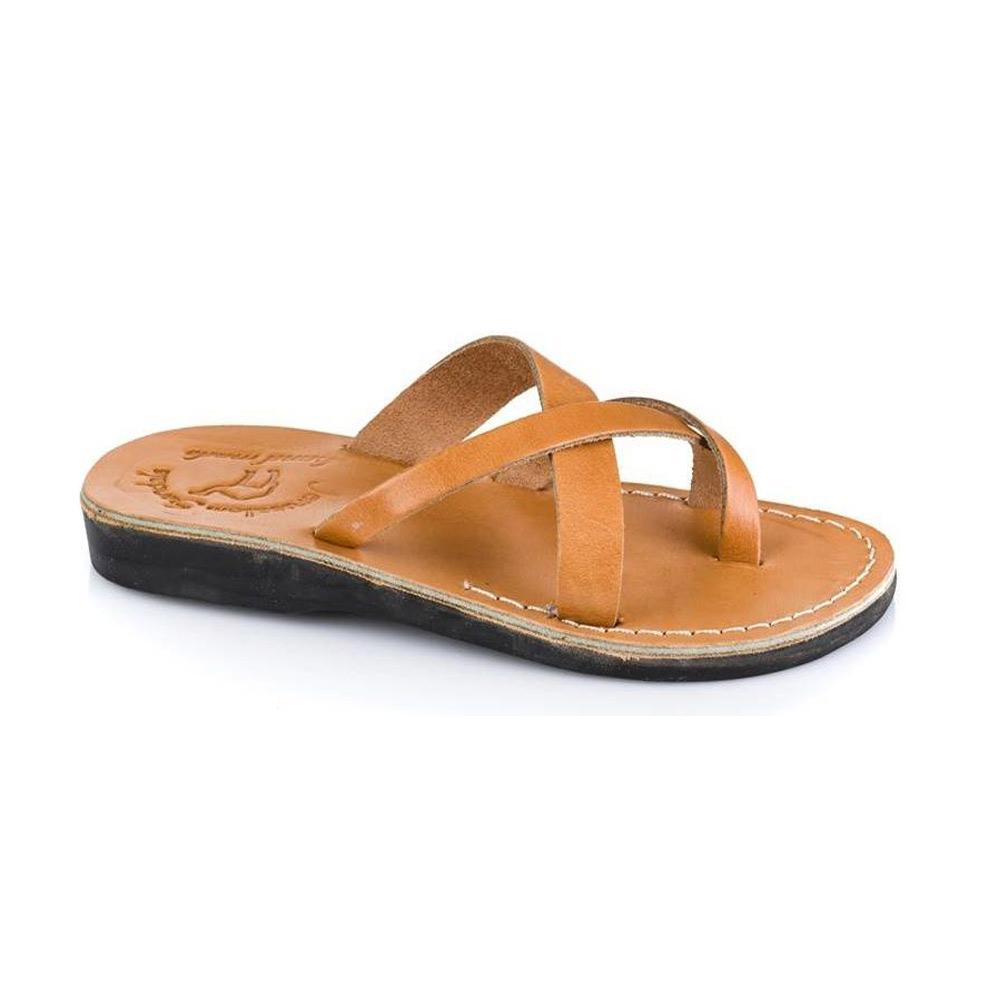 Abigail tan, handmade leather slide sandals with toe loop - Front View