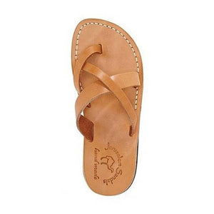 Abigail tan, handmade leather slide sandals with toe loop - Side View