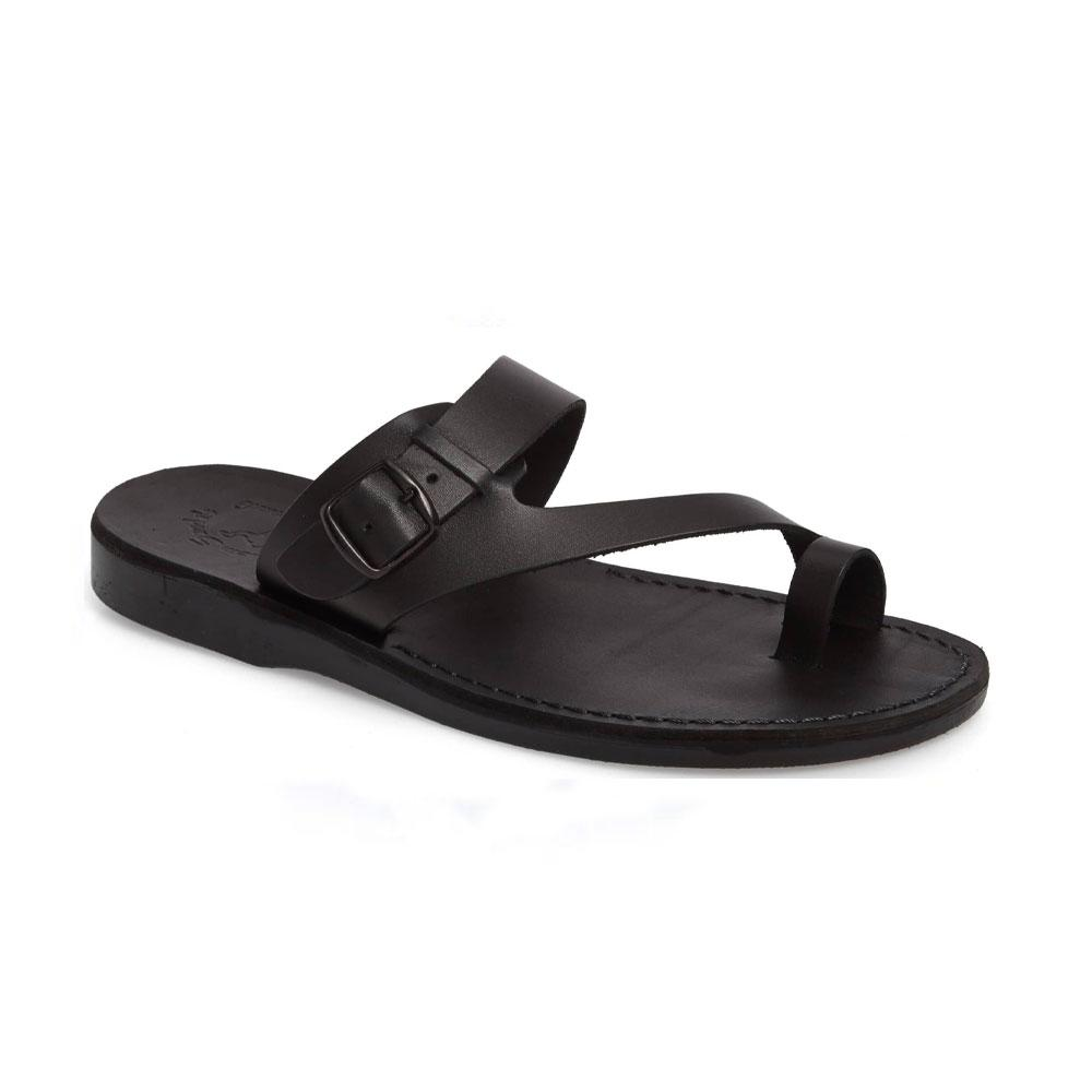Abner black, handmade leather slide sandals with toe loop - Front View